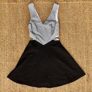 NWT Rumor Boutique Cutout Plaid And Black Dress